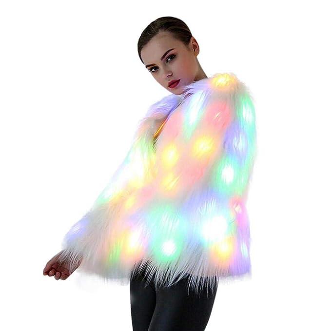 BaZhaHei-Halloween, Mujeres Navidad LED Abrigo de Piel Trajes de Escenario Discoteca Outwear Bailarinas