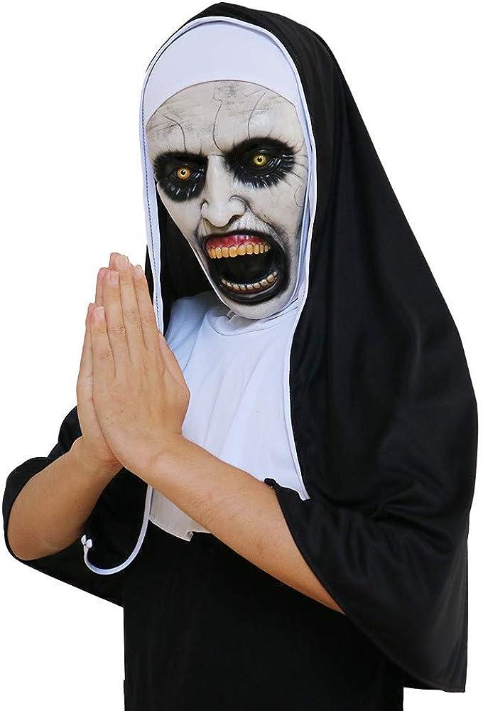Halloween Latex Villain Nun Devil Face Head Mask - Evil Demon Cosplay Costume - Horror Hood Helmet Party Decoration Prop