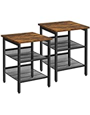 VASAGLE Nightstand, Set of 2 Side Tables, End Tables with Mesh Shelf, Rustic Brown and Black ULET24X
