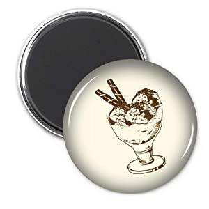 Brown Chocolate Bar Ice Glass Cream Ball Circle Refrigerator Magnet Badge 3pcs