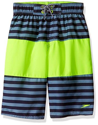 Speedo Boys Bold Stripe Blocked Volley Short Swim Trunk, Sport Neon, Large