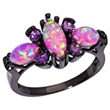gem ring size 5 - CiNily Pink Fire Opal Women Jewelry Gemstone Black Gold Filled Ring Size 5-11 (11)