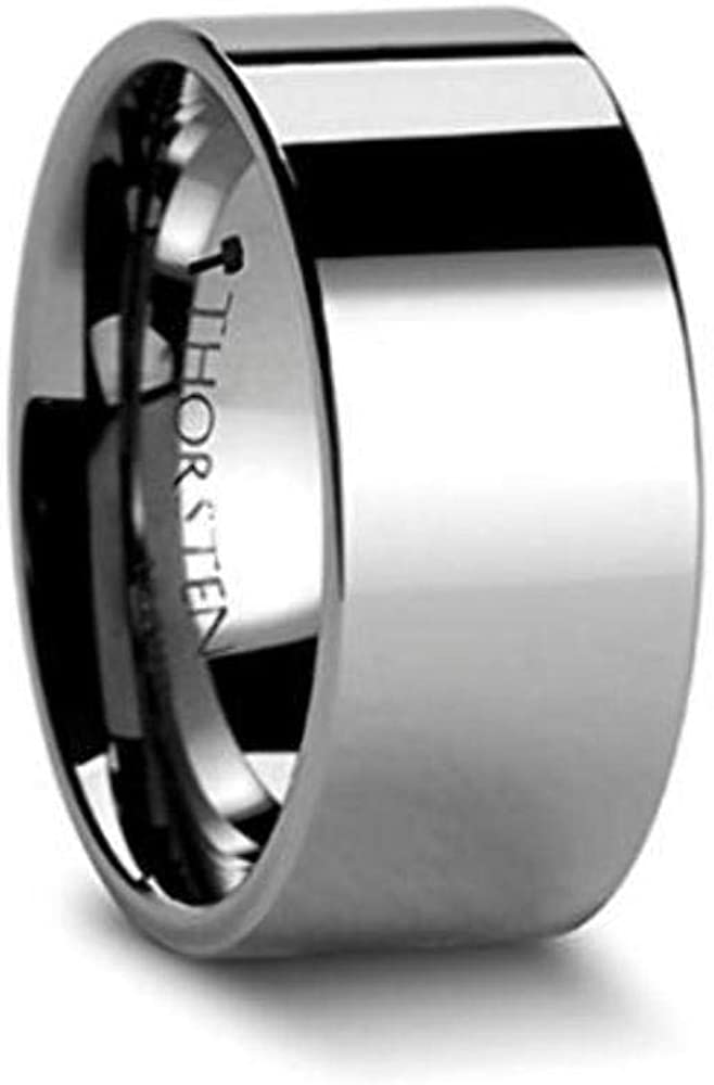 Thorsten Lincoln Beveled Edge Flat White Tungsten Carbide Ring 7mm Wide Wedding Band from Roy Rose Jewelry