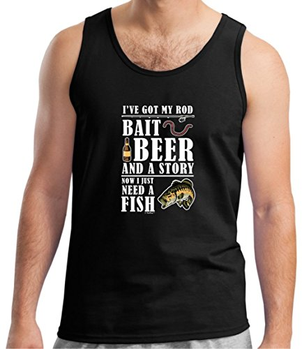 Fishing Reel Fishing Pole Fishing Net Funny Fishing Gifts Bait Beer Story Now Need a Fish Tank Top Large Black