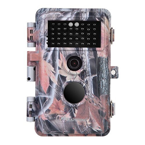BlazeVideo HD Game Hunting Trail Camera 16MP 1080P Video Deer Wildlife Cam 0.6S Trigger Motion Activated No Glow Infrared 65Ft Night Version IP66 Waterproof & Password Protection 2.4 LCD Viewer