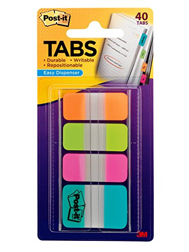 Post-it Tabs, 1-Inch and 5/8-Inch, Orange, Lime, Pink, Aqua, 10/Color, 40/Dispenser - Planner 3m