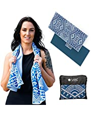 Swell-Vibes Microfibre Workout Towel– Group Fitness- Gym- Beach- Camping. Lightweight and Quick Dry Towel– Unique Elegant Design. Bag Included– Perfect Gift for Women