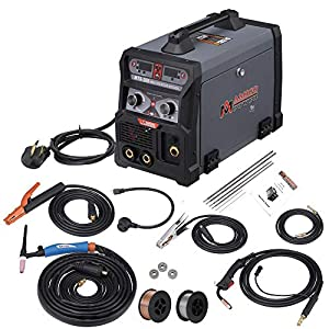 MTS-205 205 Amp MIG/TIG-Torch/Stick Arc Combo Welder, Weld Aluminum(MIG) 110/230V Dual Voltage Welding New by Amico Power Corp