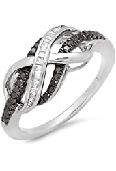 0.20 Carat (ctw) Sterling Silver Black & White Diamond Swirl Infinity Two Tone Wedding Ring 1/5 CT