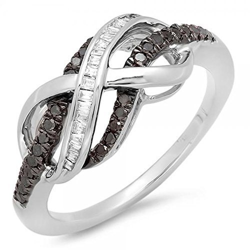 Dazzlingrock Collection 0.20 Carat (ctw) Sterling Silver Round & Baguette Cut Black & White Diamond Ladies Swirl Infinity Two Tone Wedding Ring 1/5 CT, Size 6.5 ()
