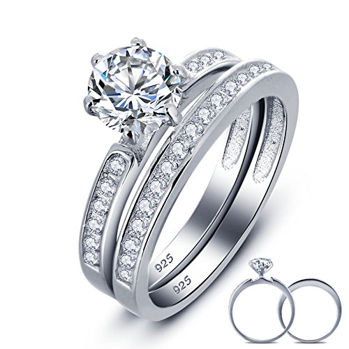 Anazoz Fashion Rings, 925 Silver 6.5MM Cubic Zirconia Eternity Matching Wedding Ring Sets for Her Size 7 (Lebron Outfit Christmas)