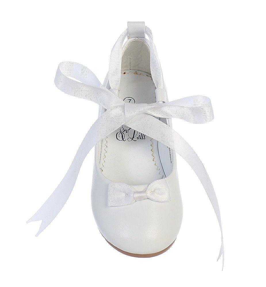 Swea Pea /& Lilli Lito Girls White Satin Ribbon Ballerina Style Flats 11-4 Kids