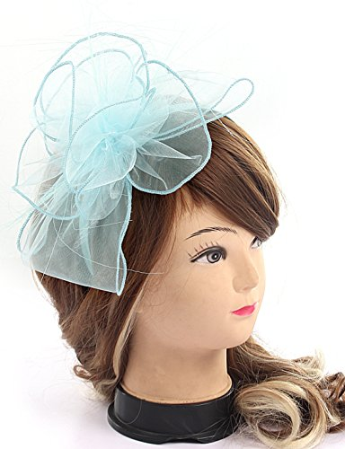 Myjoyday Fascinator Hat Feather Mesh Flower Derby Hat with Hairband Party Cocktail Tea Party Hats for Women (Light Blue)