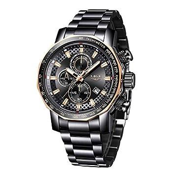 LIGE – Reloj de pulsera para hombre, de acero inoxidable, resistente al agua, con fecha, analógico, de cuarzo Hombres Relojes Relojes de Pulsera Ropa, Zapatos y Joyería
