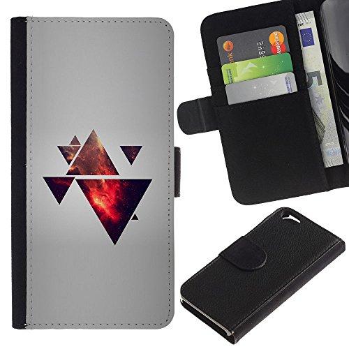 Funny Phone Case // Cuir Portefeuille Housse de protection Étui Leather Wallet Protective Case pour Apple Iphone 6 / Triangle Polygone Galaxy /