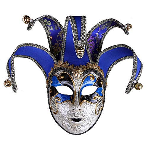 XL Masks- Halloween Mask Masquerade Creative Crack Retro Mask Female Adult Mask Venice Festival Props Face Decoration (Color : -