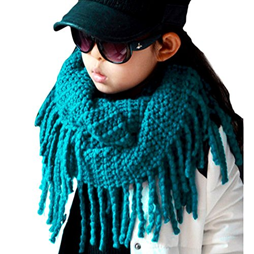 Eforstore Unisex Baby Infant Kids Toddler Boys Girls Warmer Fall Winter Thick Knit Wool Soft Infinity Scarf Neck Long Scarf Shawl, Blue