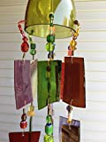 Windy Treasures Wind Chime Stained Glass Sun Catcher. Up-cycled Wine Bottle!! Rustic Garden Art.