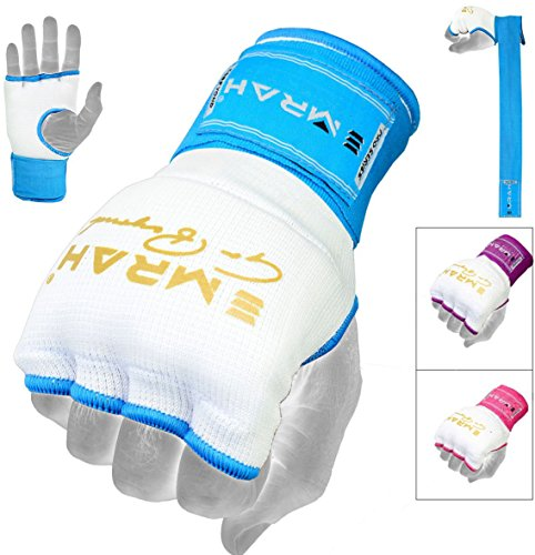 EMRAH Pro Training Ladies Boxing Inner Gloves Hand Wraps MMA Fist Protector Bandages Mitts (Medium, White/Blue)