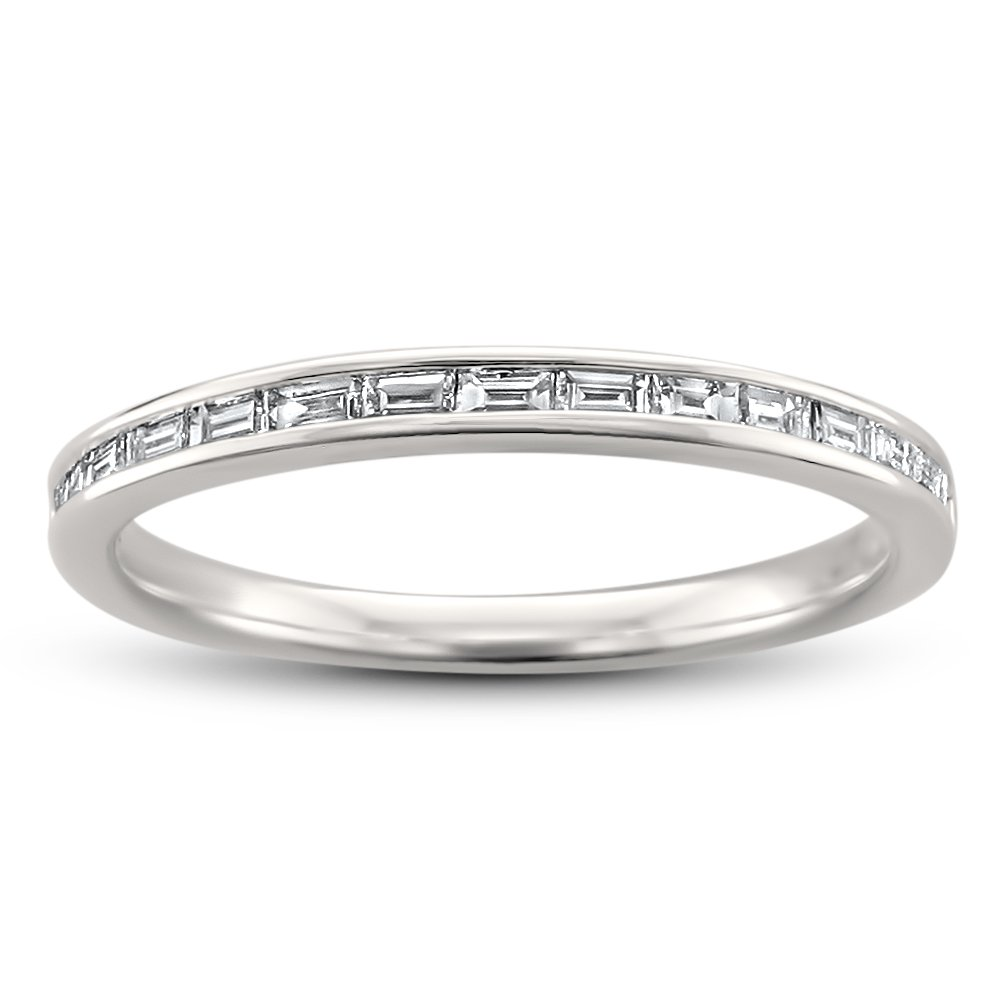 14k White Gold Baguette Diamond Bridal Wedding Band Ring (1/4 cttw, H-I, SI1-SI2), Size 7.5