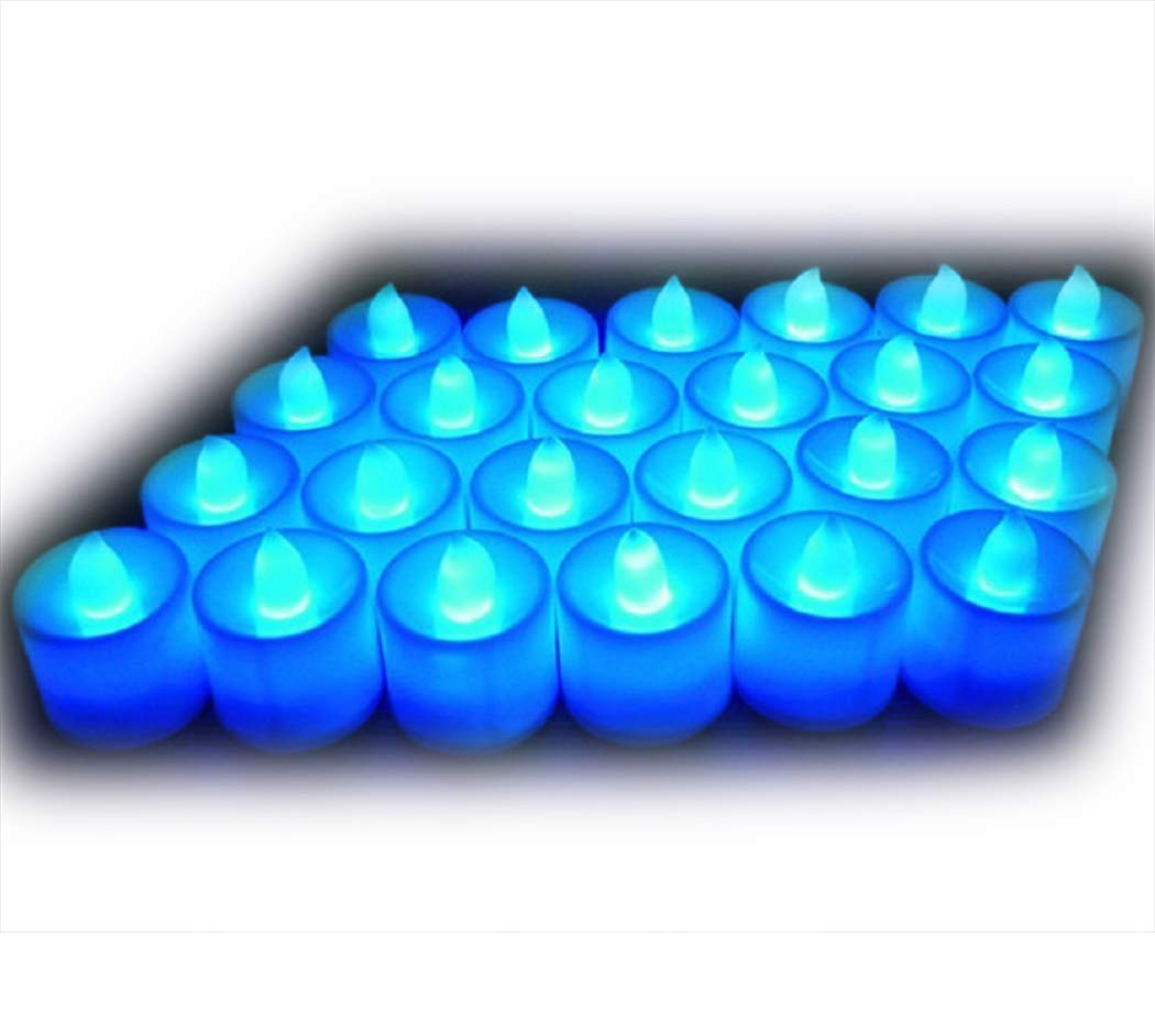 Little bees 24Pcs Electric LED Tealight Bright Mood Candle Realistic Battery Operated Tealight for Wedding Party Confession Festival Decoration Fake Candle (Blue)