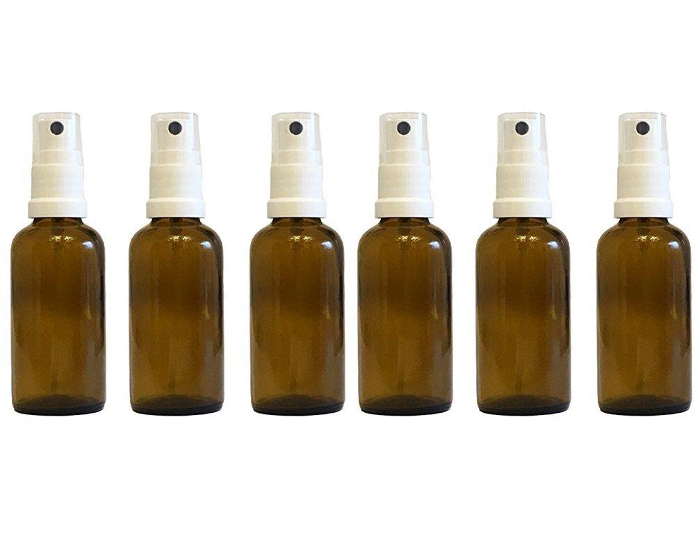 Efecto de farmacia vaporizador de pulverizador de cristal marrón (6 piezas, Capacidad 50 ml botellas de cristal pequeñas (fabricado en Alemania.