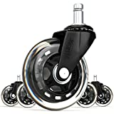 SunnieDog Office 3-Inch Inline Skate Style Office Chair Caster Wheel Replacement, Black (Set of 5)