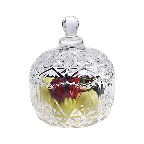 "Beautyflier 5"" Crystal Apple Shape Candy Dish Stripe Snack Bowl Jar Fruit Container Jewelry Storage Case with Ball Handle Banquet Household Desktop Display Centerpiece"