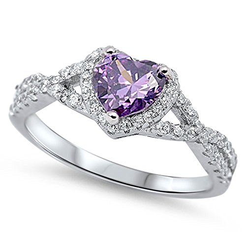 Heart Shaped Purple Simulated Amethyst Cubic Zirconia Swirl Heart Ring 925 Sterling Silver Size 7 -