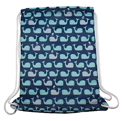 EnV Eco-chic Reuseable Foldable Drawstring Backpack (Totes Adorbs Multicolored Whales on Blue)