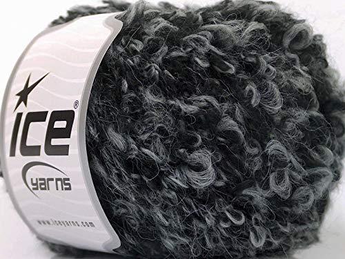 Black Gray Boucle Yarn - Bulky Wool, Acrylic, Nylon Blend, 50 Gram, 54 Yards