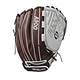 Wilson 2018 Aura Pitcher's/Infield Fastpitch Gloves - Left Hand Throw Ivory/Dark Brown, 12''