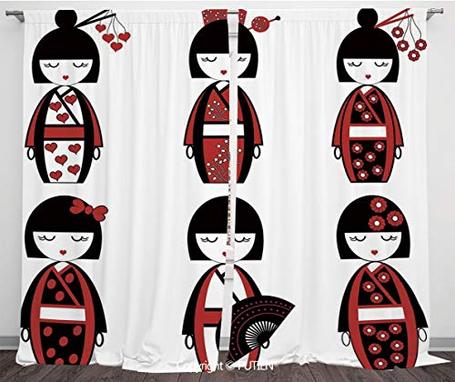 Satin Window Drapes Curtains [ Girls,Unique Asian Geisha Dolls in Folkloric Costumes Outfits Hair Sticks Kimono Art Image,Black Red ] Window Curtain Window Drapes for Living Room Bedroom Dorm Room Cla