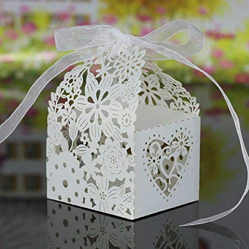 20Pcs Hollow Out Chocolate Candy Gift Boxes Wedding Party Favor Box With Ribbon |Color - Hollow Out Pattern White|