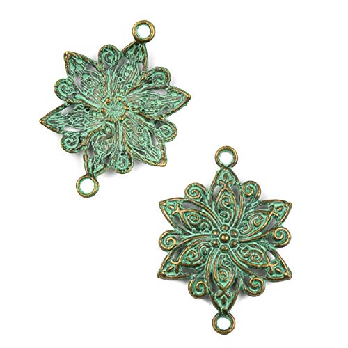 Cherry Blossom Beads Green Bronze Colored Pewter 28x39mm Flower Link Charm - 10 per Bag