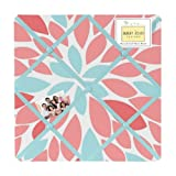 Fabric Memory/Memo Photo Bulletin Board for Turquoise and Coral Emma Collection