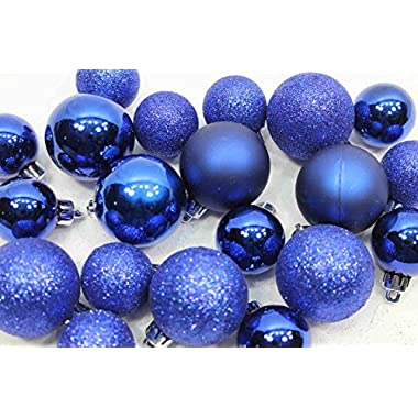 20 Holiday Time Mini Shatterproof Satin Shiny and Glitter Finish Bulb Christmas Ornaments (Dark Blue)
