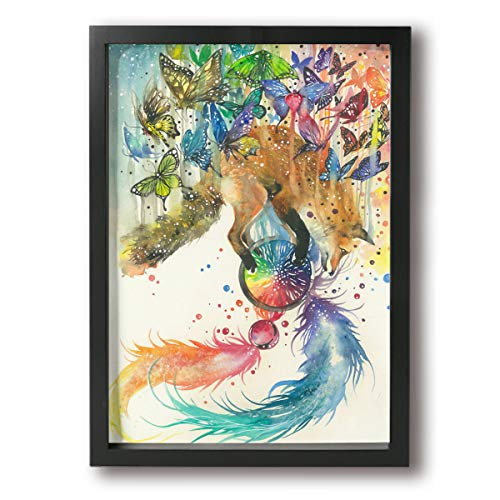 Little Monster Animal Fox Butterfly Framed and Stretched Oil Paintings On Canvas Home Decor Modern Artwork Art for Child Bedroom Black