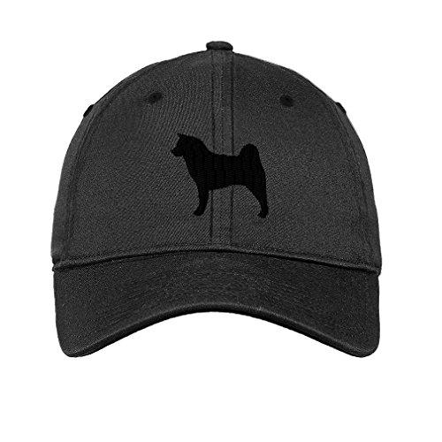 Akita Dog Silhouette Twill Cotton 6 Panel Low Profile Hat Dark Denim