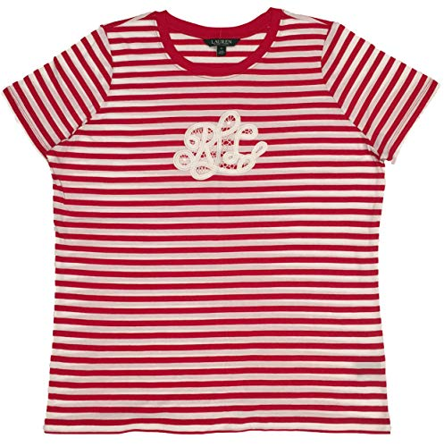 Lauren Ralph Lauren Plus Size Lace Monogram Cotton Tee (3X, Soft White/Lipstick Red Striped) -