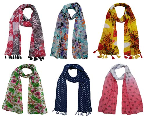 FusFus Women's Printed Trendy Stoles, Free Size(Assorted colours, F0152) – Pack of 6
