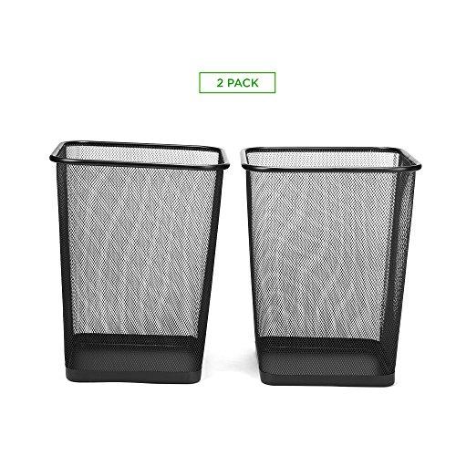 Mind Reader 2SQUAGA-BLK 2-Piece Garbage Waste Basket Recycling Bin Set, Square Metal Mesh, Black