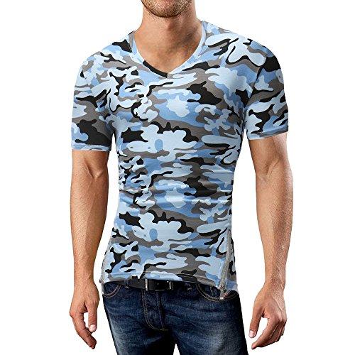 Camisa de Manga Larga con Cremallera de Camuflaje de Manga Corta para Hombre de Top Fashion by Internet.: Amazon.es: Ropa y accesorios