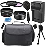Camcorder Video Camera Semi Professional Accessory Kit includes High Capacity NP-FV100 NPFV100 FV100 Replacement Battery with Car/International Charger + Padded Carrying Case + 67mm 0.43x High Definition AF Wide Angle Lens + 67mm 2.2x AF Telephoto Lens +