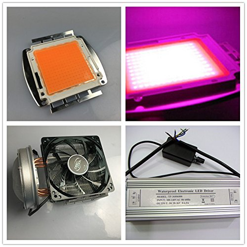 led world 200W 380-840nm Full spectrum High power led+dimmer driver+heat sink fans with100mm lens kits DIY by Led World