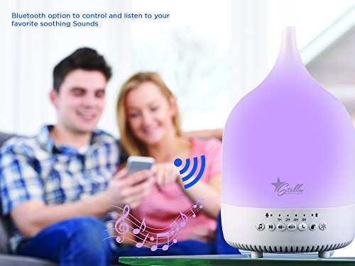 Stella Premier Sound Soothing Noise Essential Aroma Oil Diffuser, Color Changing LED Lights, Bluetooth Speaker, Timer, 200ml