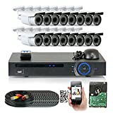 GW Security 1920x1080P HD CVI 16 Channel Security System + 16 HDCVI 1080p 2.1MP Bullet Camera 2.8-12mm Varifocal Lens Motion Detect Smartphone Access