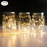 Solar Mason Jar Lights,3-Pack Mason Jar with 10 color warm white Leds Fairy String lights,Solar Led outdoor Lantern for Pation Garden Path Lights,Washing Bottle,(Mason Jar and Lifting Handle Included)
