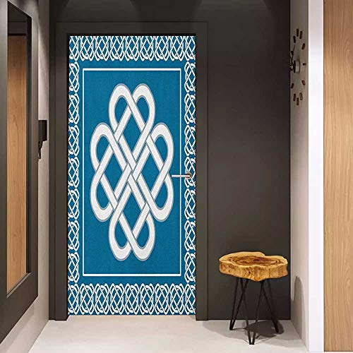 (Door Sticker Irish Celtic Love Knot Good Fortune Symbol Framework Border Historical Amulet Design Glass Film for Home Office W38.5 x H79 Dark Aqua White)