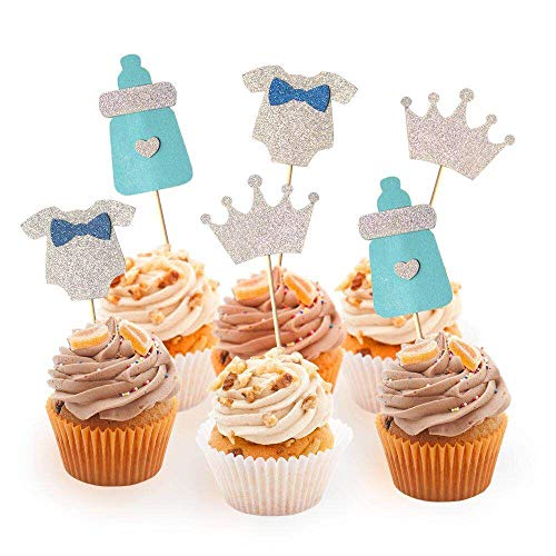 DYIXIN 24 Pcs Baby Boy Cupcake Toppers for Baby Shower Birthday Party Cupcake Decoration